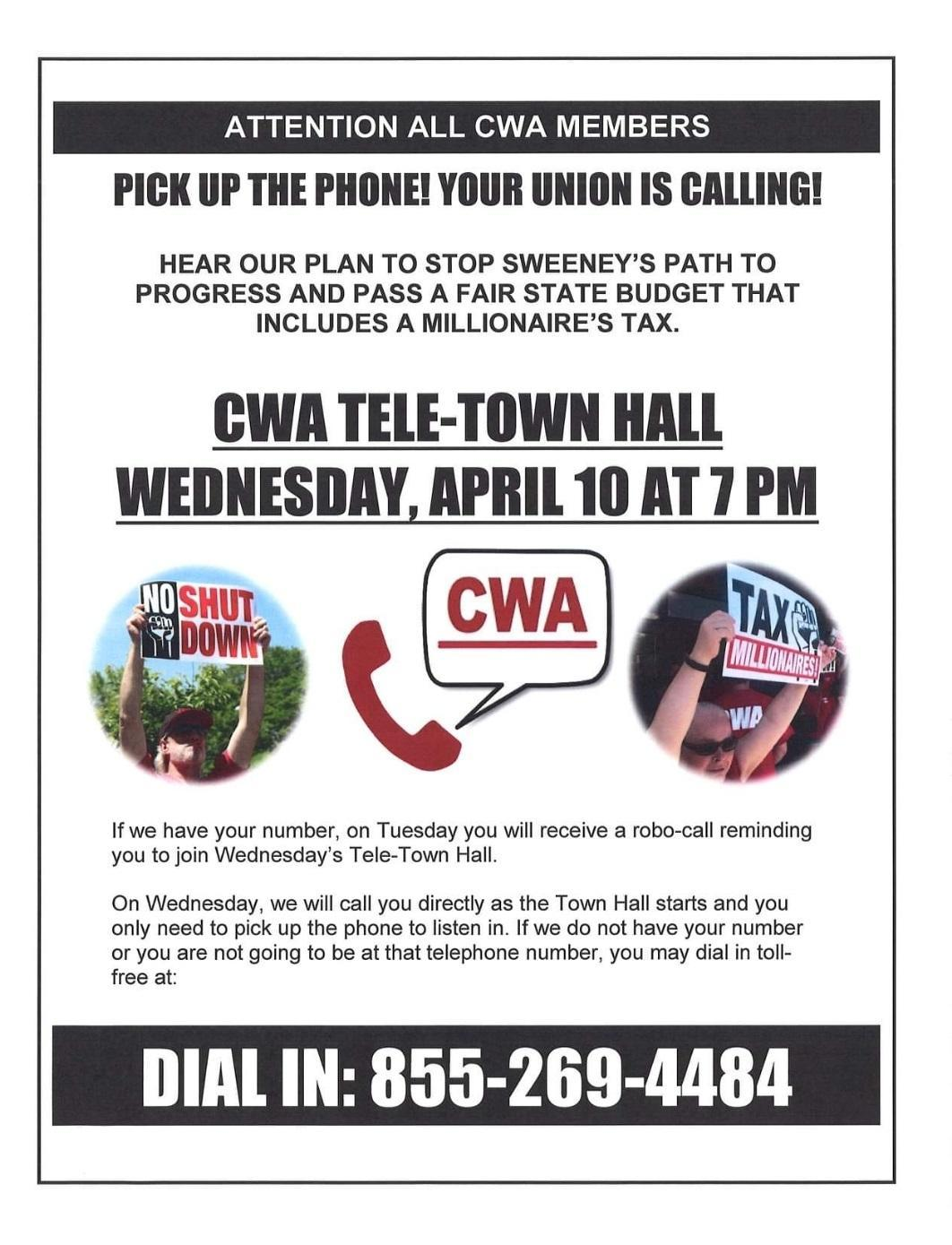 Tele-town Call Hall: Wednesday, April 10 at 7 PM | CWA Local 1040